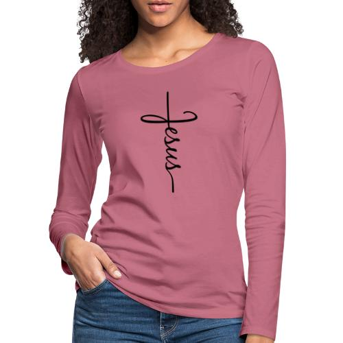 Jesus Kors - Dame premium T-shirt med lange ærmer