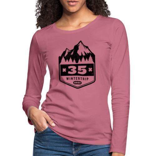 35 ✕ WINTERTRIP ✕ 2021 • BLACK - Vrouwen Premium shirt met lange mouwen