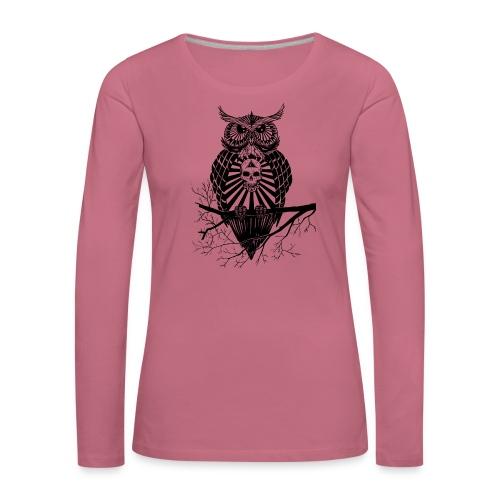 Hibou Psychédélique - T-shirt manches longues Premium Femme
