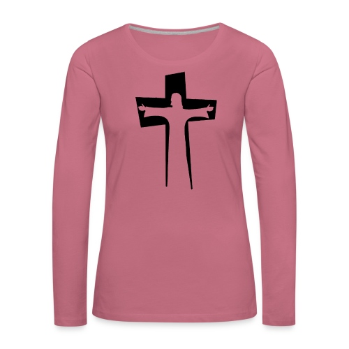 Abstrakt Jesus på korset - Långärmad premium-T-shirt dam