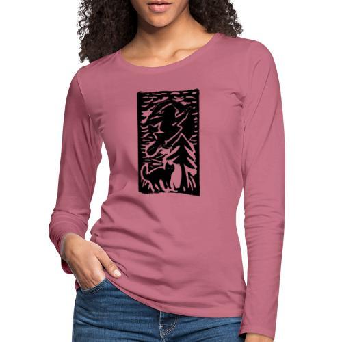 Hexe mit Katze - Frauen Premium Langarmshirt