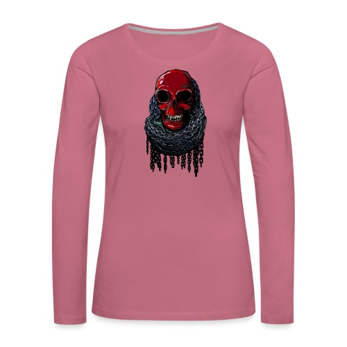 RED Skull in Chains - Women's Premium Longsleeve Shirt