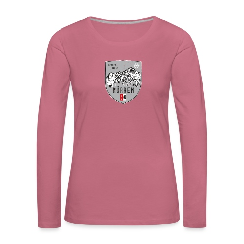Eiger, Mönch und Jungfrau mit Mürren Flagge - Women's Premium Longsleeve Shirt