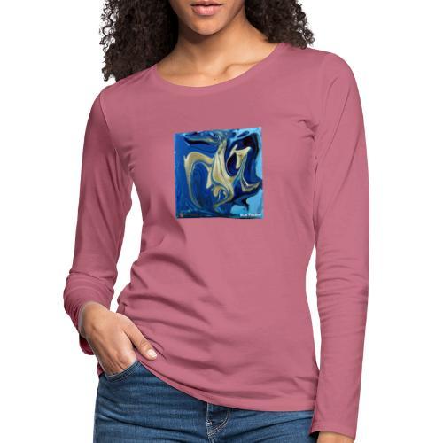 TIAN GREEN Welt Mosaik - AT042 Blue Passion - Frauen Premium Langarmshirt