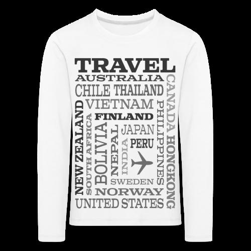 Travel Places Gray design - Lasten premium pitkähihainen t-paita