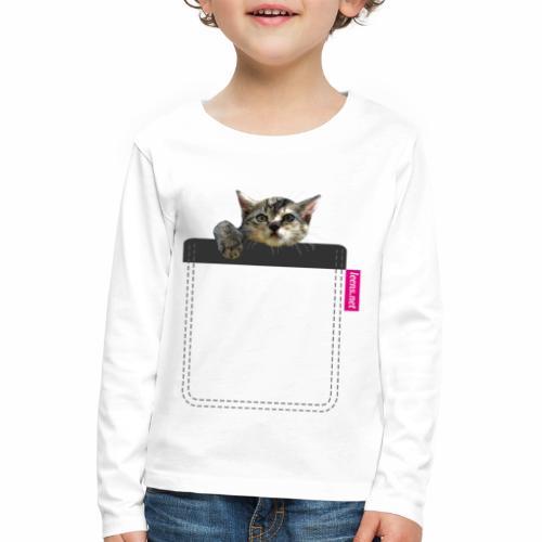 Kätzchen in Brusttasche - Kinder Premium Langarmshirt