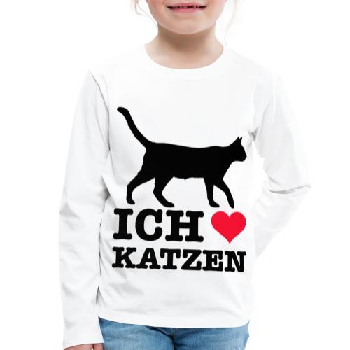 Ich liebe Katzen mit Katzen-Silhouette - Kinder Premium Langarmshirt