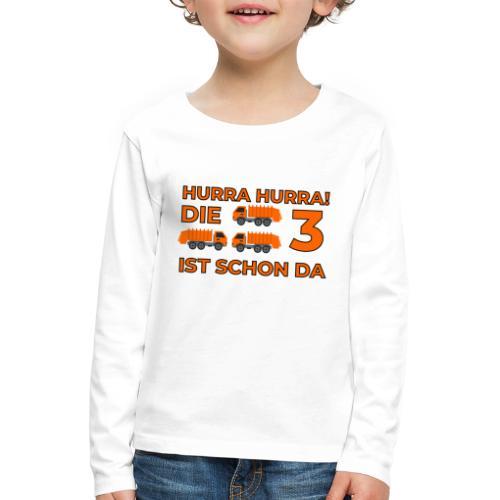Trzecie urodziny śmieciarka - Koszulka dziecięca Premium z długim rękawem