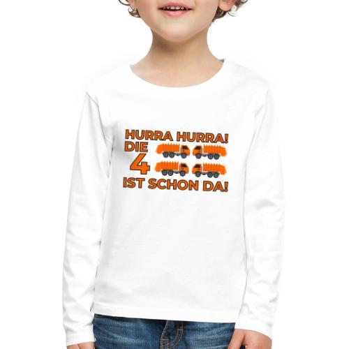 Czwarte urodziny śmieciarka - Koszulka dziecięca Premium z długim rękawem