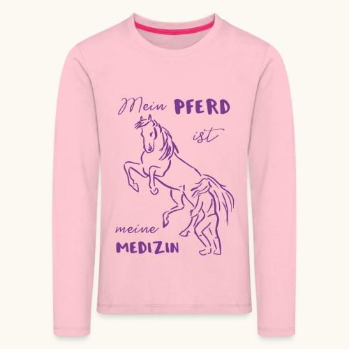 Mein Pferd ist meine Medizin lila Geschenk Spruch - T-shirt manches longues Premium Enfant