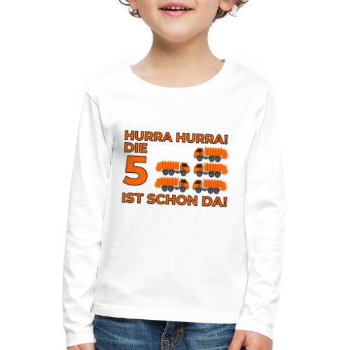 Piąte urodziny prezent dla chłopca śmieciarka - Koszulka dziecięca Premium z długim rękawem