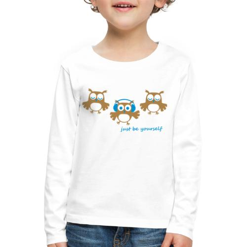 coole süße Eule tanzt Tanzen Kopfhörer Familie - Kinder Premium Langarmshirt