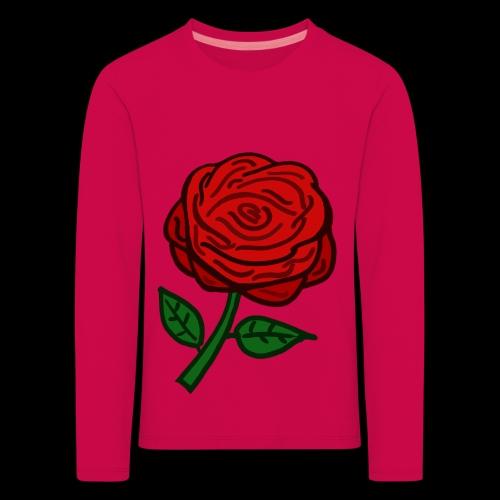 Rote Rose - Kinder Premium Langarmshirt