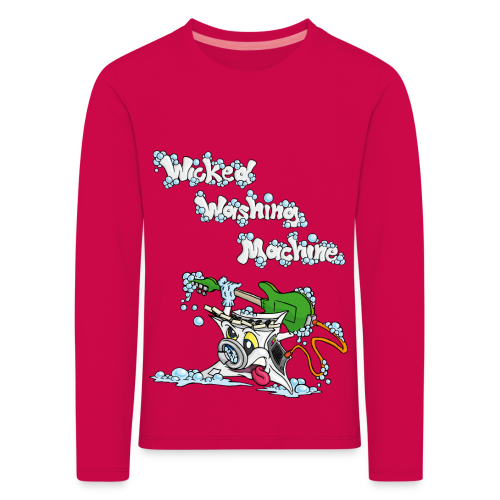 Wicked Washing Machine Cartoon and Logo - Kinderen Premium shirt met lange mouwen