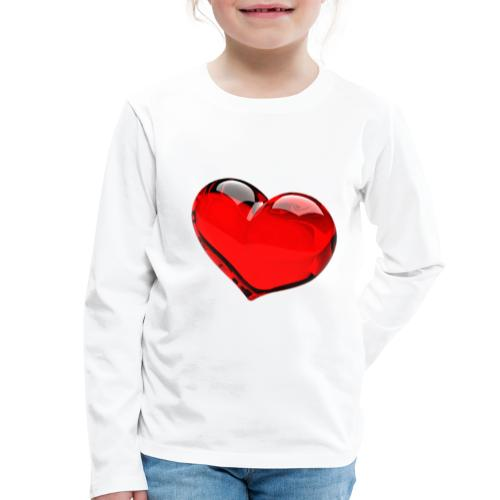 serce 3D - Koszulka dziecięca Premium z długim rękawem
