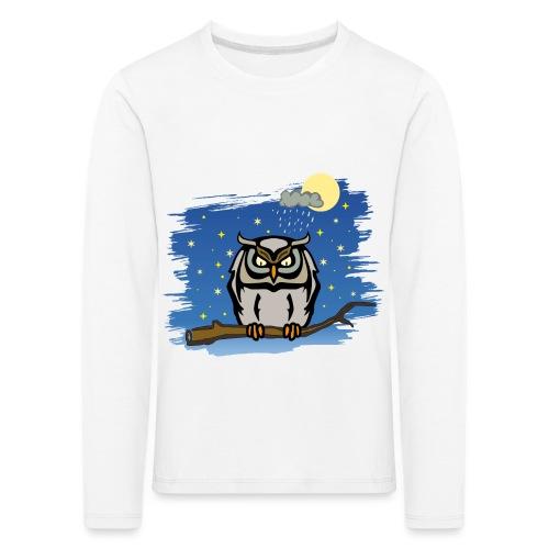 Eule Uhu Nachtschwärmer Vollmond Regenwolke Sterne - Kinder Premium Langarmshirt