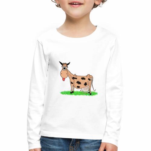 Kuh, Comic, Cartoon - Kinder Premium Langarmshirt