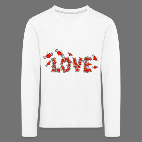 Latające miłości serc - Koszulka dziecięca Premium z długim rękawem