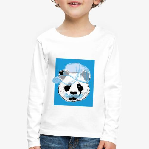 Panda - Cap - Mustache - Kinder Premium Langarmshirt