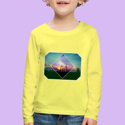 Tramonto in risalto tra figure geometriche - Maglietta Premium a manica lunga per bambini