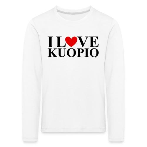 I LOVE KUOPIO (koko teksti, musta) - Lasten premium pitkähihainen t-paita