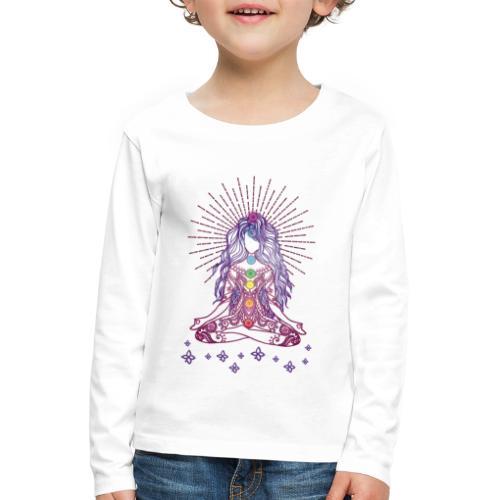 Boho Yoga Style Mädel Happy Mind Happy Life - Kinder Premium Langarmshirt