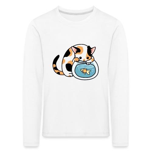 Katze mit Fisch im Glas - Kinder Premium Langarmshirt
