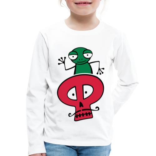 Grenouille verte sur un crâne moustachu - T-shirt manches longues Premium Enfant