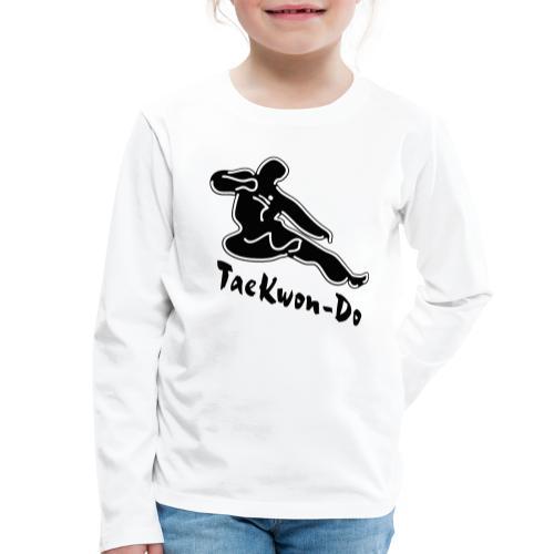 Taekwondo flying kicking man - Kids' Premium Longsleeve Shirt