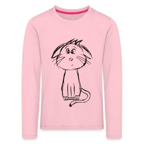 Kissa Kissanpentu musta scribblesirii - Lasten premium pitkähihainen t-paita