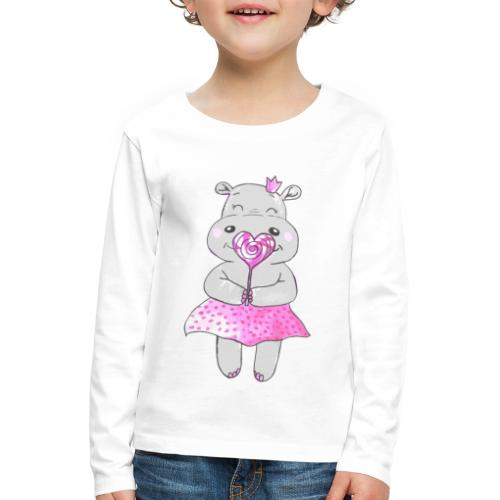 Happy Hippo - Kinder Premium Langarmshirt