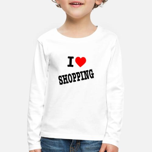 I Love Shopping (Ik Hou van Winkelen) - Kinderen Premium shirt met lange mouwen