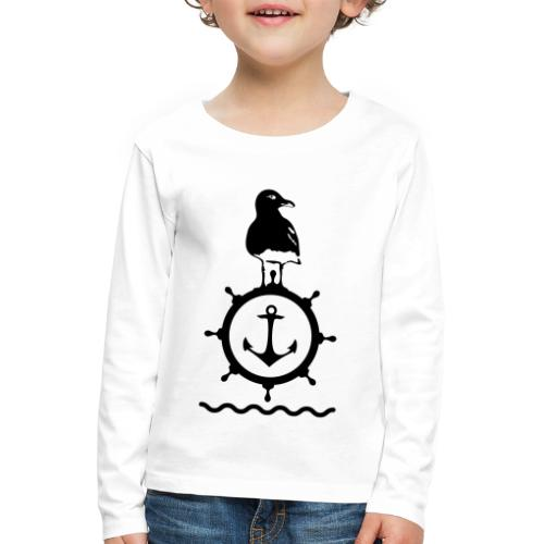 Möwe Steuerrad Anker Wellen Küste Meer Hafen - Kinder Premium Langarmshirt