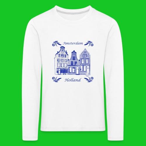 Holland Grachtenpanden Delfts Blauw - Kinderen Premium shirt met lange mouwen