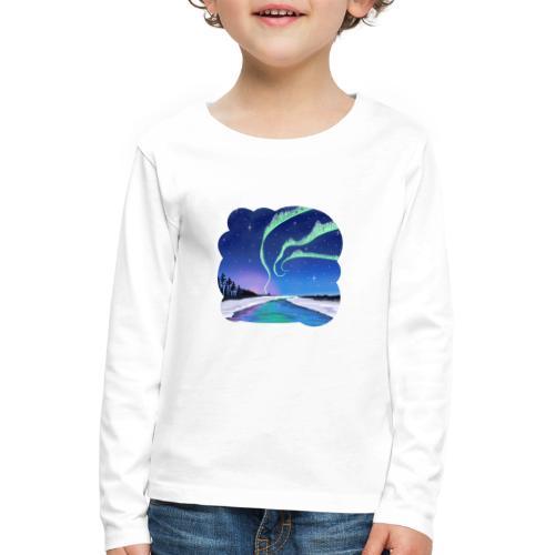 Réflexion des aurores boréales - T-shirt manches longues Premium Enfant
