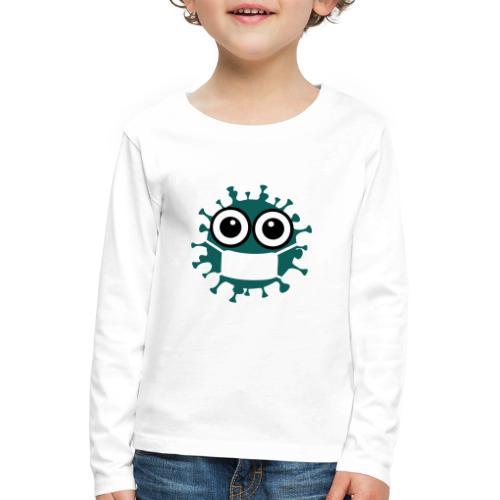 CORONA Virus mit Maske - Comic Art Grafik - Kinder Premium Langarmshirt