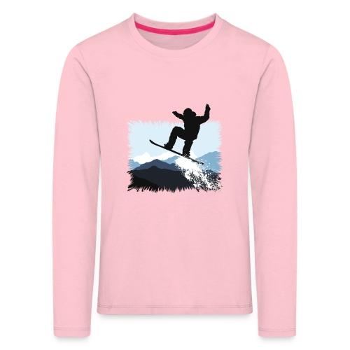 Snowboarder Action Jump | Apresski Shirt gestalten - Kinder Premium Langarmshirt