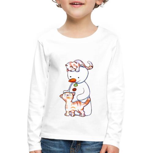 Deux petits chats et Jou le bonhomme de neige - T-shirt manches longues Premium Enfant