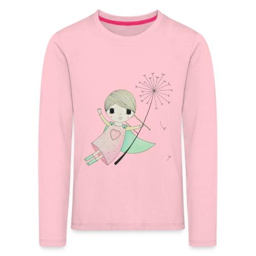 meisje aan uitgebloeide paardenbloem - Kinderen Premium shirt met lange mouwen