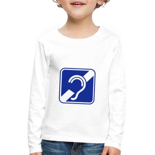doven. Slechthorend, doofheid, gehoorverlies teken - Kinderen Premium shirt met lange mouwen