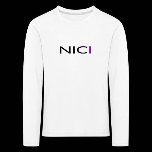 NICI logo Black - Lasten premium pitkähihainen t-paita