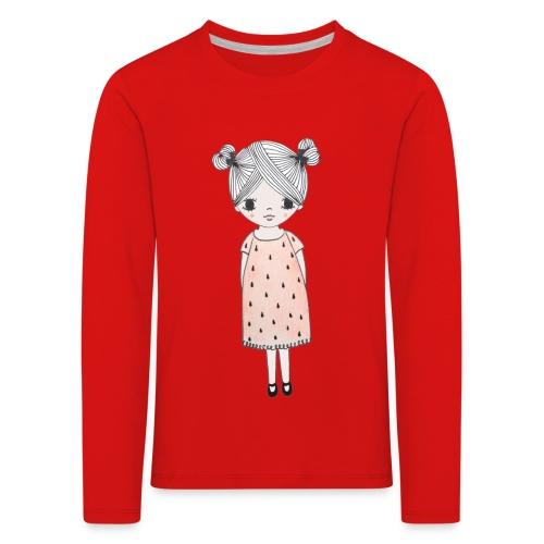 lachend meisje met knotjes - Kinderen Premium shirt met lange mouwen