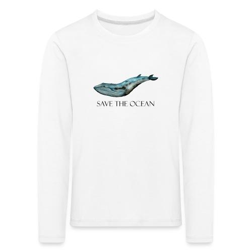 SAVE THE OCEAN ręcznie malowany wieloryb - Koszulka dziecięca Premium z długim rękawem