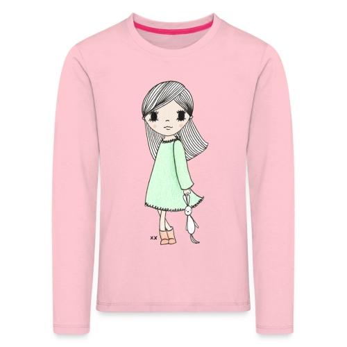 meisje met knuffel - Kinderen Premium shirt met lange mouwen
