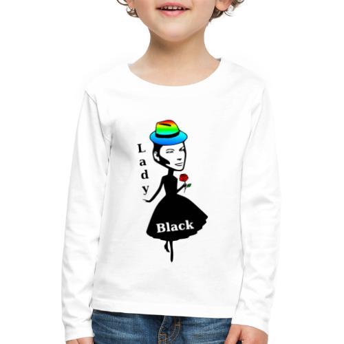 Lady Black/Regenbogen - Kinder Premium Langarmshirt