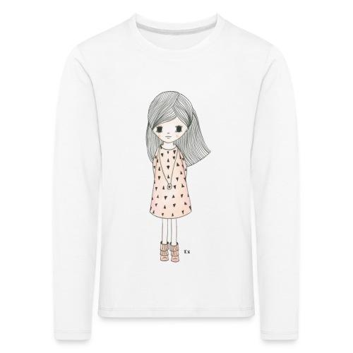 meisje met roze jurk - Kinderen Premium shirt met lange mouwen