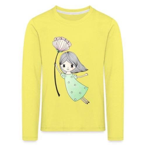 meisje met bloem - Kinderen Premium shirt met lange mouwen