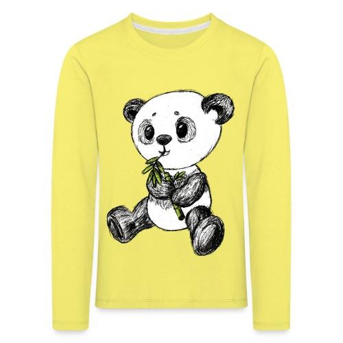 Panda bjørn farvet scribblesirii - Børne premium T-shirt med lange ærmer