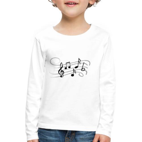 Muzikale bladmuziek muzieknoten patroon. Muziek - Kinderen Premium shirt met lange mouwen
