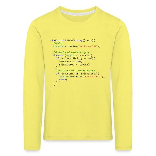Love seen by a C# programmer - Maglietta Premium a manica lunga per bambini